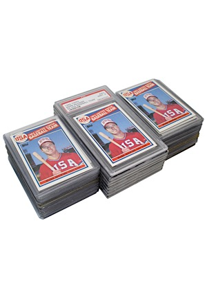 Large Grouping Of 1984 Mark McGwire United States Baseball Cards (59)(One Graded PSA GEM MT 10 • Nine Total Graded)