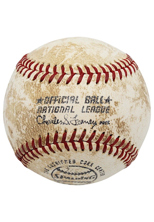 1973 Hank Aaron Game-Used Career #705 Home Run Baseball (Sourced From Teams Traveling Secretary • Lelands LOP)