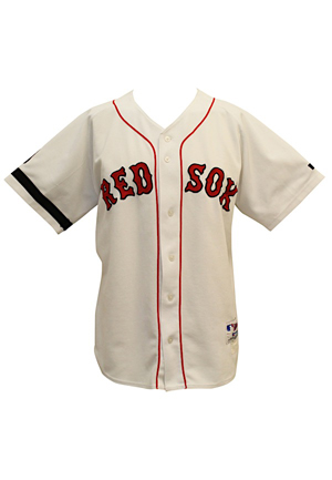2002 Tommy Harper Boston Red Sox Coaches-Worn Home Jersey (Harper LOA • Williams Memorial #9 & Armband)