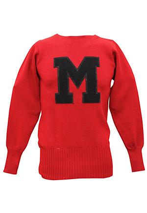 1947 Charlie Conerly Ole Miss Rebels Player-Worn Sweater & Yearbook (Photo Of Wife Holding Sweater)