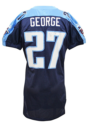 2000 Eddie George Tennessee Titans Game-Used & Autographed Jersey (JSA • Multiple Repairs)