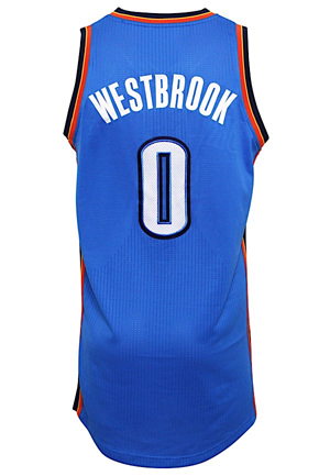 2012-13 Russell Westbrook Oklahoma City Thunder Game-Used Jersey (NBA LOA • Photo-Matched & Graded 10)