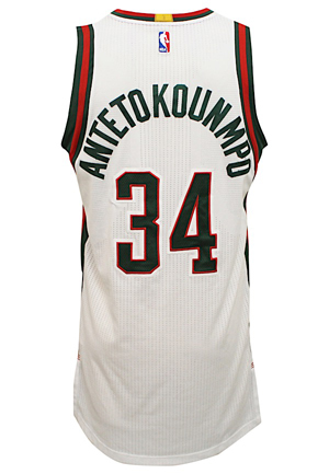 2015-16 Giannis Antetokounmpo Milwaukee Bucks Game-Used Home Jersey (Photo-Matched)