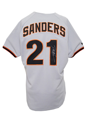 1995 Deion Sanders San Francisco Giants Game-Used & Autographed Road Jersey (JSA)