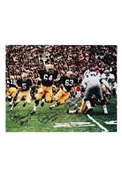 "Bart Starr, Jerry Kremer, Paul Hornung & Fuzzy Thurston Green Bay Packers Multi-Signed Large Format ""The Sweep"" Color Photo (JSA • Photo Of Kramer Signing)"