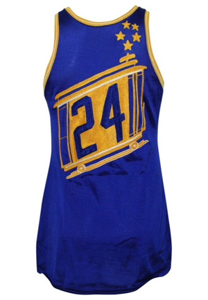 "1966-67 Rick Barry San Francisco Warriors Game-Used ""Cable Car"" Durene Jersey (Graded 10 • Highly Desirable One Year Style)"
