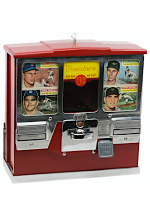 1950s Oak Premiere Baseball Card & Gum Ball Machine