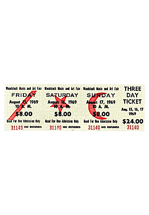 1969 Woodstock Music And Art Fair Three Day Ticket (High Grade)
