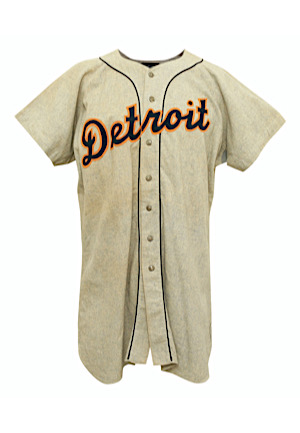 1953 Bob Swift Detroit Tigers Coaches Worn Road Flannel Jersey (Graded 10)