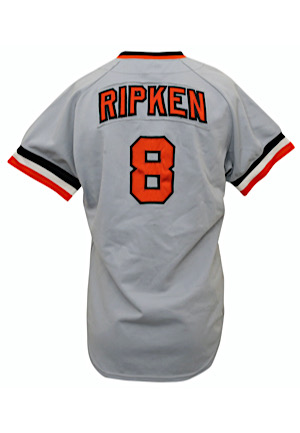 1981 Cal Ripken Jr. Baltimore Orioles Rookie Game-Used & Autographed Road Jersey (PSA/DNA 9 • Very Scarce True Rookie Example)