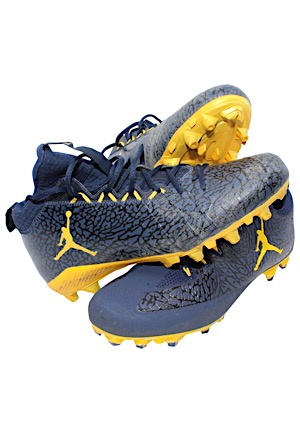 Circa 2016 Michigan Wolverines Game-Used Cleats (3)(Jordan Brand)