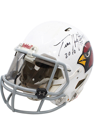 2010 Tim Hightower Arizona Cardinals Game-Used & Autographed Helmet (JSA)