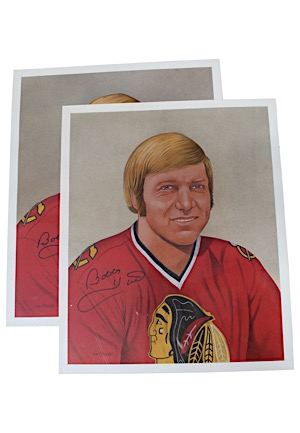 Bobby Hull Signed Original Jim Bliss Art (2)(JSA)