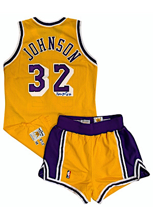 1989-90 Magic Johnson Los Angeles Lakers Game-Used & Autographed Home Uniform (2)(Rare • Full JSA)