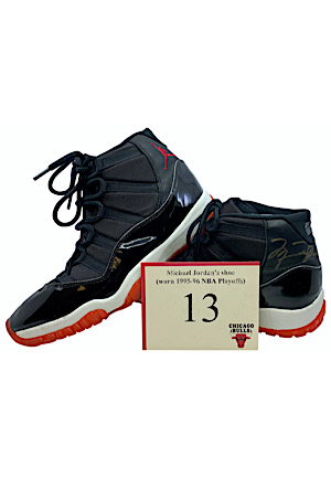 1995-96 Michael Jordan Chicago Bulls NBA Playoffs Game-Used & Autographed Shoes (CharitaBulls • Reg Season & Finals MVP • Championship Season)
