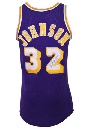 Mid 1980s Magic Johnson Los Angeles Lakers Game-Used & Autographed Road Jersey (Full JSA)