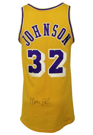 Circa 1979 Magic Johnson Los Angeles Lakers Rookie Era Game-Used & Autographed Home Jersey