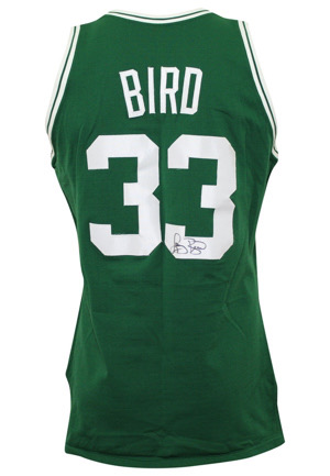 1987-88 Larry Bird Boston Celtics Game-Used & Dual-Autographed Knit Jersey (Graded 10 • Sourced From Celtics Equipment Manager • Full JSA)