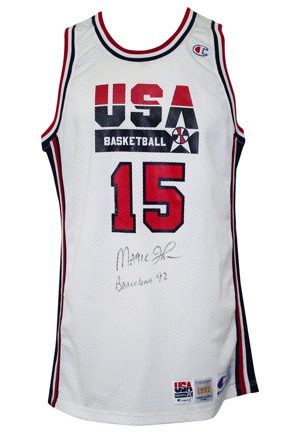 "1992 Magic Johnson USA Olympic Basketball ""Dream Team"" Game-Used & Autographed Jersey (Full JSA)"