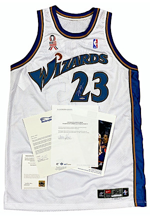 12/14/2001 Michael Jordan Washington Wizards Game-Used & Autographed Home Jersey (Photo-Matched • Team LOA • MeiGray • UDA)