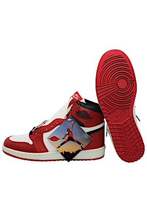 "1985 Nike ""Air Jordan 1 High"" Chicago Shoes With Original Box & Jumpman Hanging Tag (One of the Cleanest Pairs Known To Exist)"