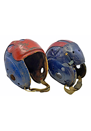 1940s Bill Paschal & Frank Filchock New York Giants Game-Used Leather Helmets (2)(Great Provenance)