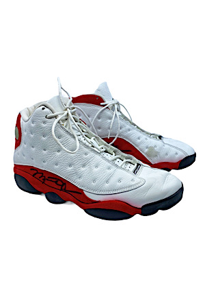 "1997-98 Michael Jordan Chicago Bulls Game-Used & Autographed ""Air Jordan XIII"" Shoes (Championship & MVP Season)"